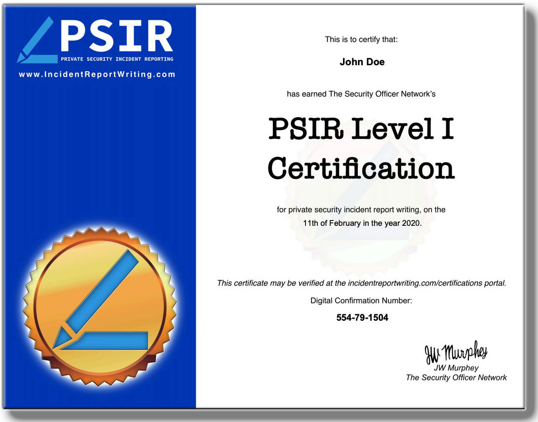 example psir level 1 certificate